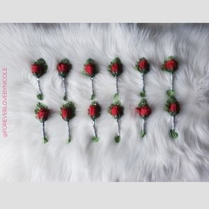 (12) Red Rose Boutonnieres W/Pins